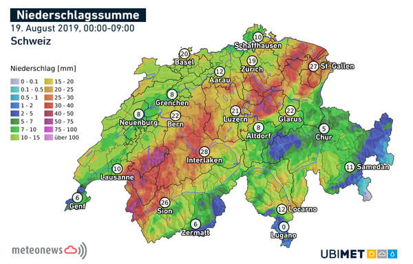 Niederschlagsmengen von Montag, Mitternacht bis 09:00 Uhr @ UBIMET