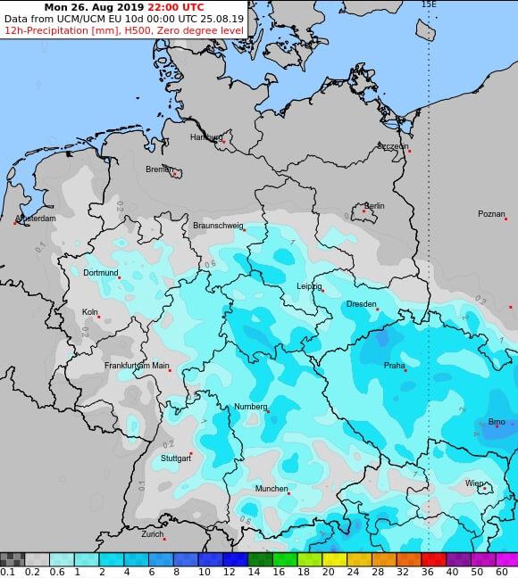Niederschlagsprognose für Montagnachmittag und -abend