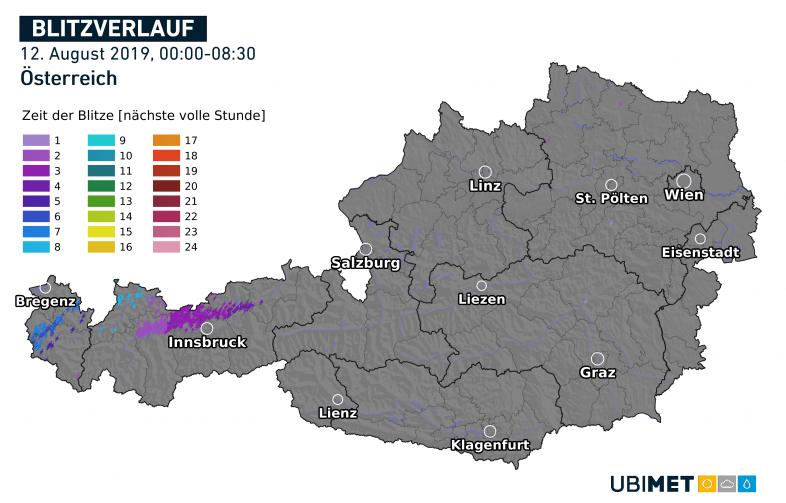 Blitzmessungen am 12.08.2019 bis 08:30 Uhr MESZ - UBIMET, nowcast