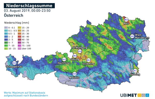 Niederschlagsmengen am Samstag mit den gemessenen Spitzenwerten pro Bundesland