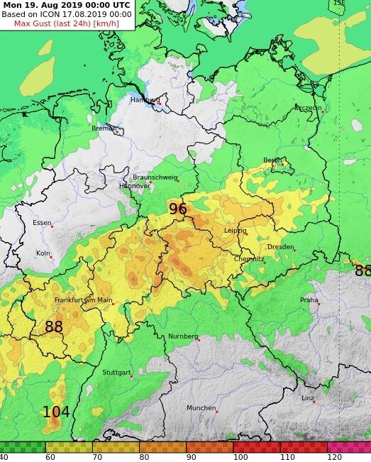 Prognose der Windspitzen am Sonntag. © DWD / UBIMET
