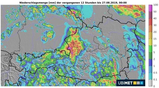 Regenanalyse von Montagnachmittag und -abend