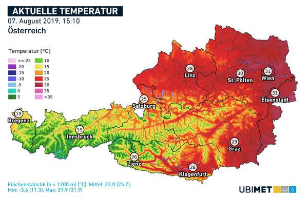 Temperaturverteilung um 15:10 Uhr @ UBIMET