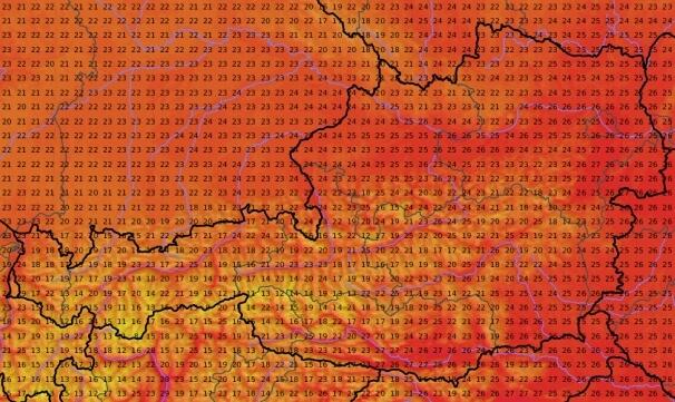 Temperaturen am Samstagnachmittag. © UBIMET