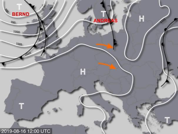 Tief ANDREAS führt mäßig warm und leicht labil geschichtete Luftmassen in den Osten.