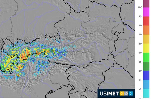 Schneeprognose bis Montagmorgen. © UBIMET