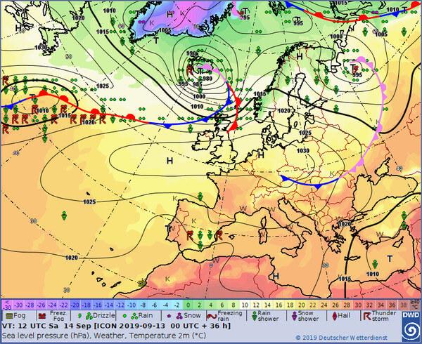 Die Wetterlage am Samstag in Europa.