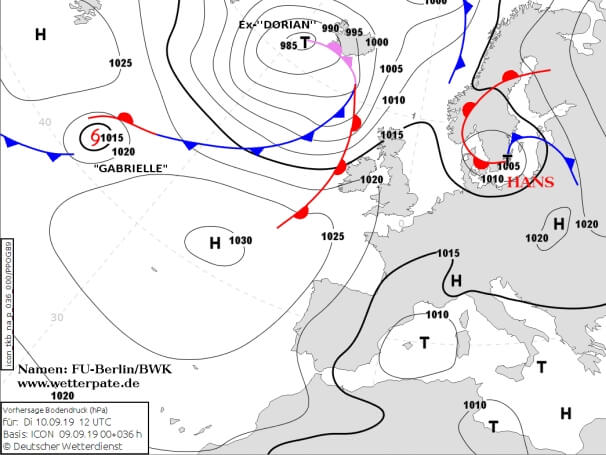 Bodenwetterkarte am Dienstag. © FU Berlin /DWD