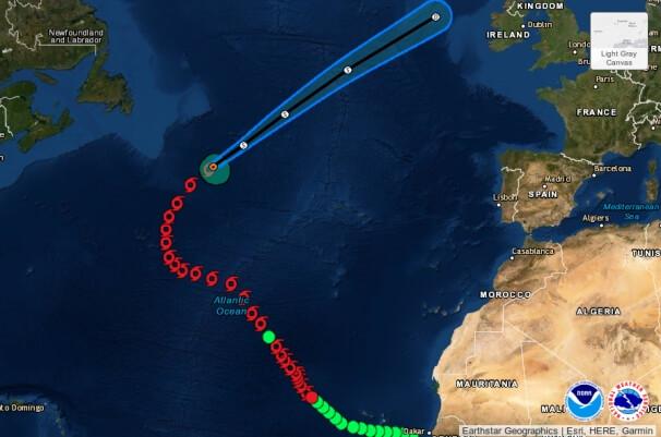 Die Zugbahn von Hurrikan Gabreille inkl. Prognose vom NHC. © NOAA