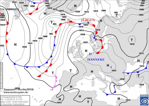 Wetterkarte für Freitag, den 20.09.2019 @ www.wetterpate.de