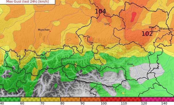 Prognose der Windböen für Montag. © UBIMET