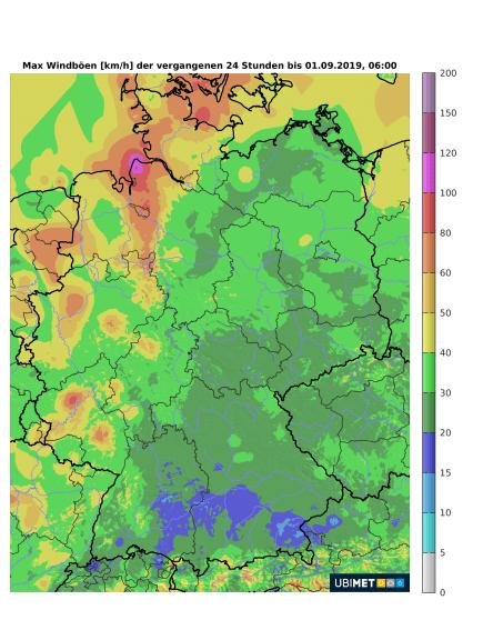 Maximale Sturmböen der vergangenen 24h bis zum 01.09 um 8 Uhr MESZ - UBIMET, DWD