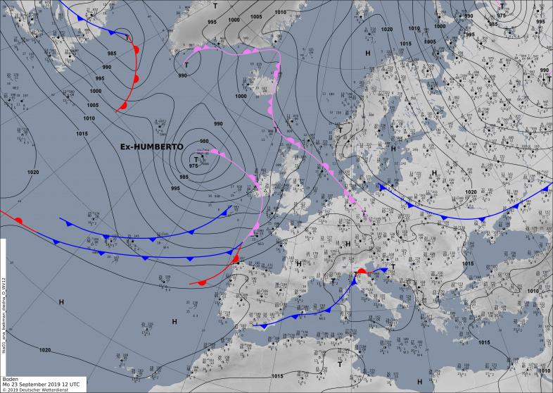 Frontenkarte vom Montag, 23.09.2019 (Bodenluftdruck und Fronten). Quelle:DWD
