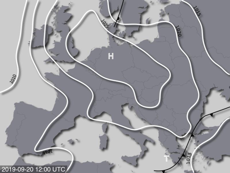 Bodendruckkarte für Freitag, 20. September 2019, 14:00 MESZ. Quelle: UBIMET