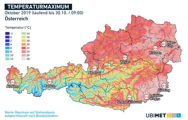 Höchsttemperaturen im Oktober 2019 mit den höchsten Werten je Bundesland @ UBIMET