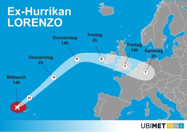 Die Prognose der Zugbahn von Ex-Hurrikan Lorenzo. © UBIMET