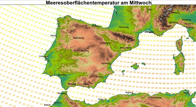 Noch immer hohe Wassertemperaturen im Mittelmeer.