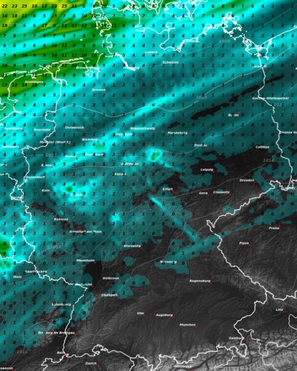 Niederschlagsprognose bis Sonntagnacht.von RACE. © UBIMET