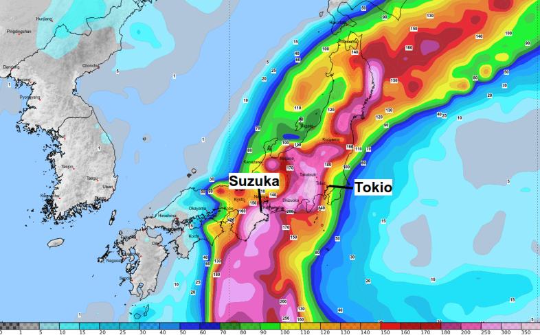 Immense Regenmengen kommen in Japan zusammen.