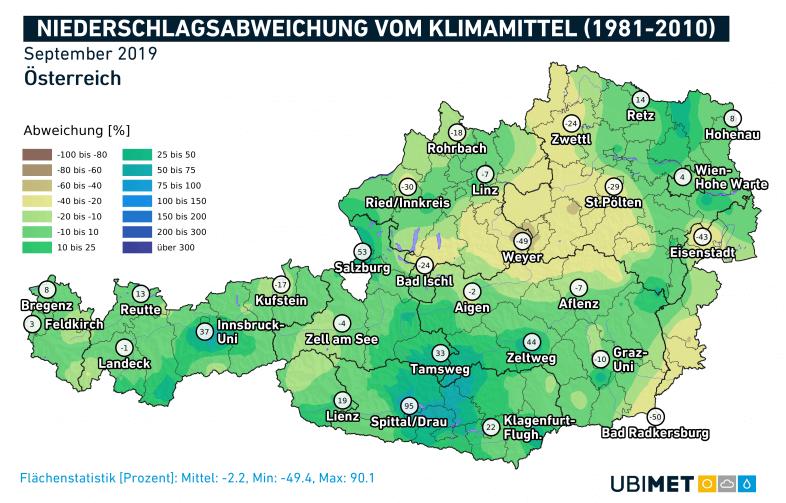 Die Niederschlags-Abweichungen in Prozent vom Klimamittel.