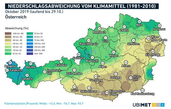 Abweichung des Niederschlags vom Klimamittel für den Oktober 2019 @ UBIMET