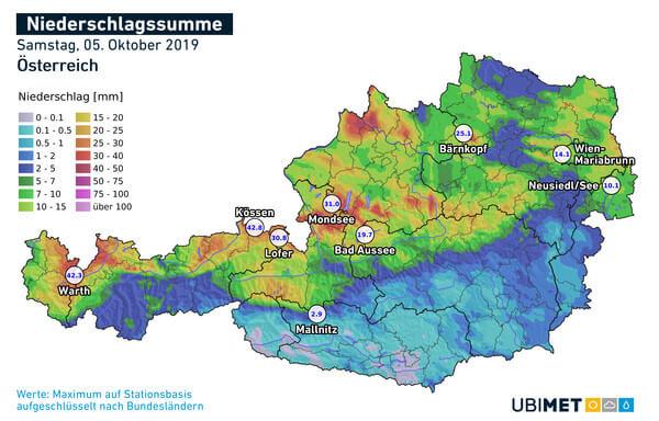 Niederschlagssumme Österreich vom 05.10.2019 @ UBIMET