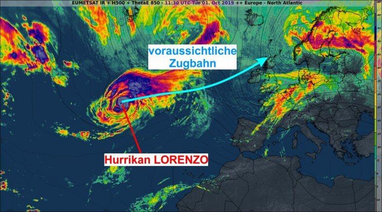 Hurrikan Lorenzo auf dem Weg nach Nordosten.