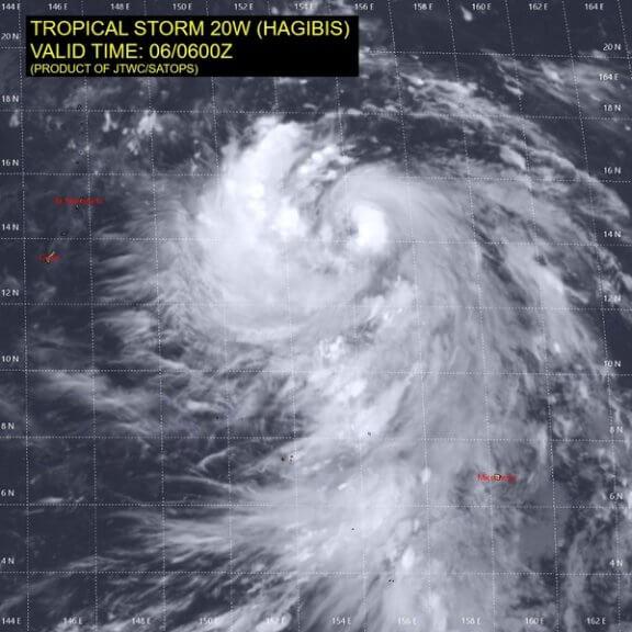 Satellitenbild des tropischen Sturms HAGIBIS von Sonntag @ JTWC