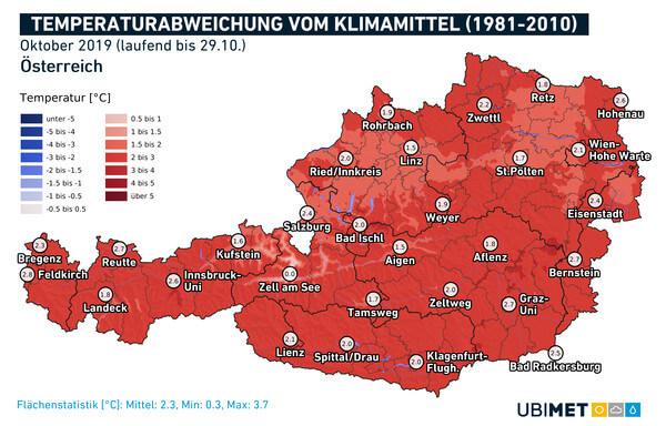 Abweichung der Temperatur vom Klimamittel für den Oktober 2019 @ UBIMET