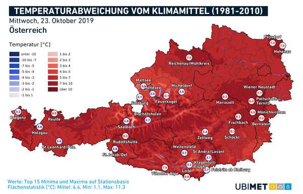 Abweichung der Mitteltemperatur vom Klimamittel am 23.10.2019 @ UBIMET