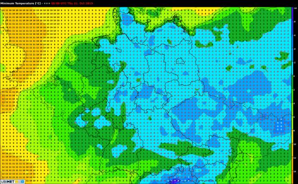 Temperaturen Donnerstagfrüh
