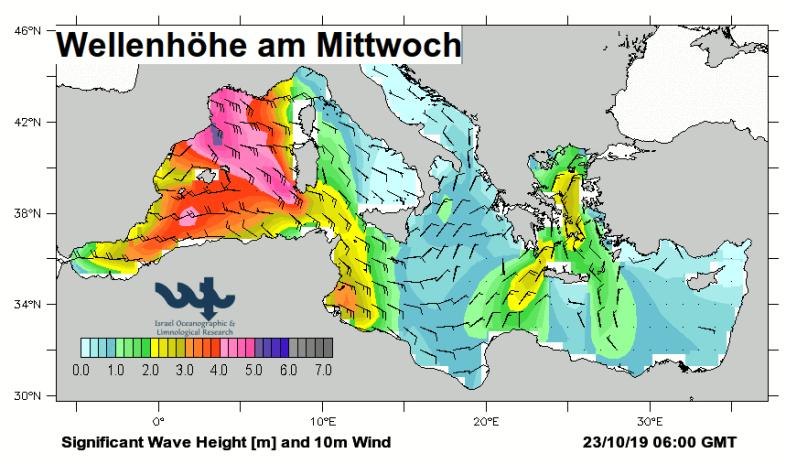Hoher Wellengang kommende Woche im westl. Mittelmeer.
