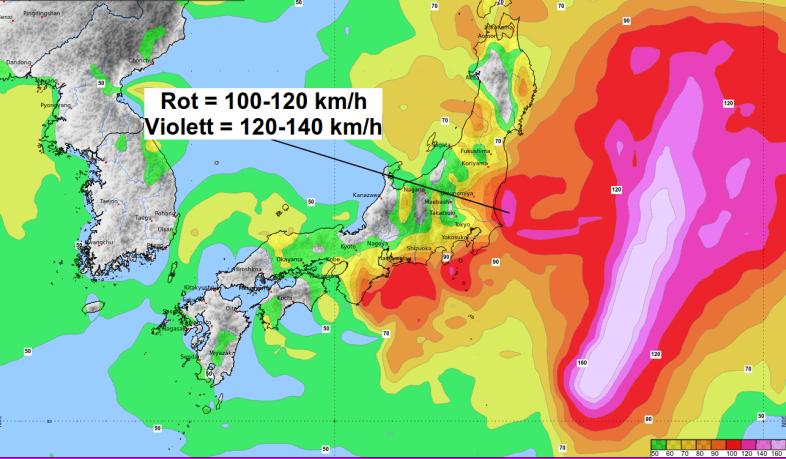 Vor allem im Osten Honshus wird es sehr stürmisch.