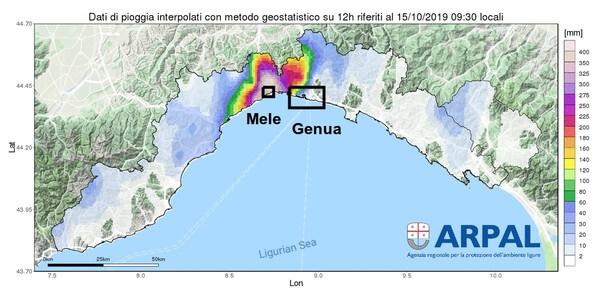 Analyse des 12h-Niederschlags in der Region Genua @ http://93.62.155.214/~omirl/WEB/areali/last_12h.gif