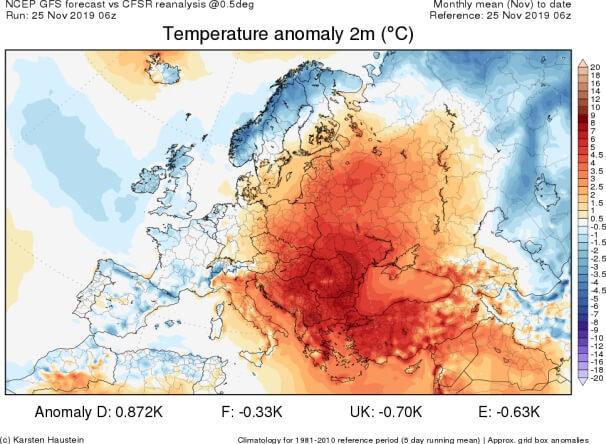 Temperaturanomalie im November 2019 (Stand 24.11.). © Karsten Haustein