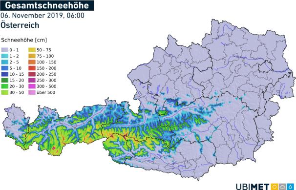 Aktuelle Schneehöhe in Österreich