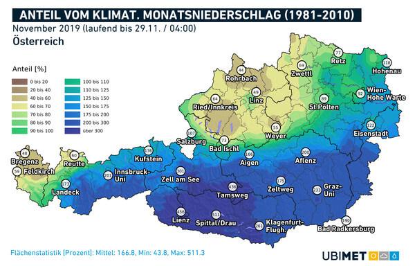 Anteil vom klimatologischen Monatsniederschlag November @ UBIMET