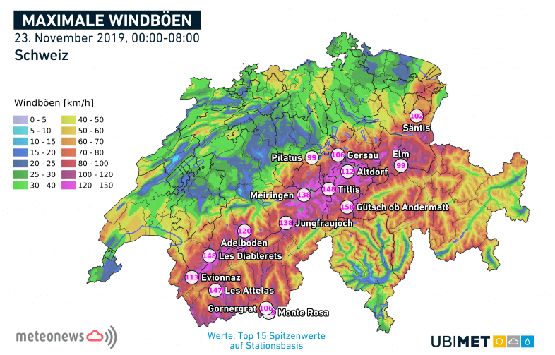 Föhnsturm an der Alpennordseite.