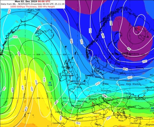 GEFS prognostiziert ein Hoch über dem Ostatlantik