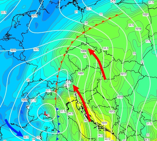 In der Höhe gelangt etwas mildere Luft nach Österreich