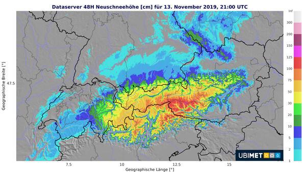 Prognose der Neuschneesumme über 48 h bis Mittwochabend @ UBIMET