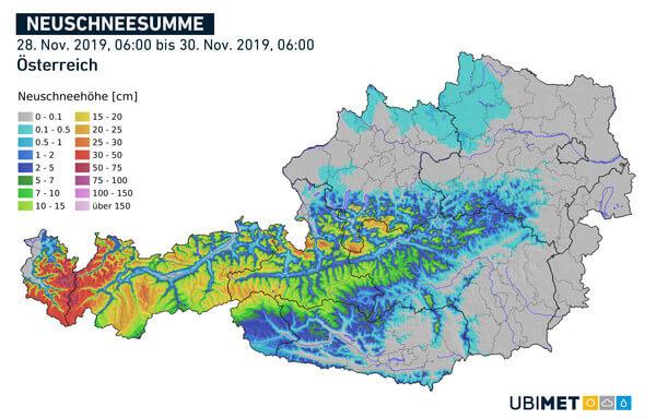 Prognostizierte Neuschneesumme über 48 Stunden bis Samstagmorgen @ UBIMET