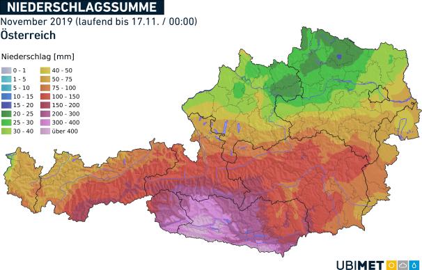 Niederschlagsmenge seit dem 1. November. © UBIMET