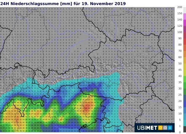 Niederschlagsprognose für Dienstag von UCM. © UBIMET