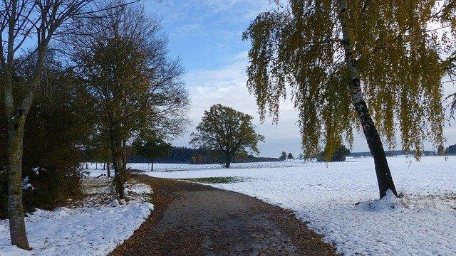 Der erste Schneefall im Herbst.