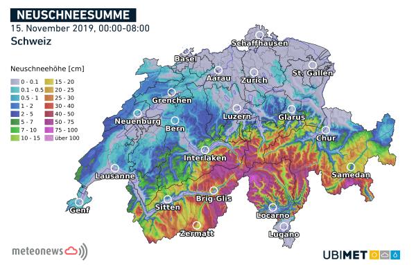 Neuschneesummen seit Mitternacht in der Schweiz