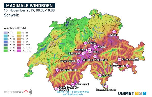 Spitzenböen in der Schweiz