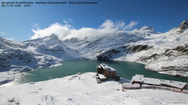 Schnee bei der Rudolfshütte. © www.foto-webcam.eu