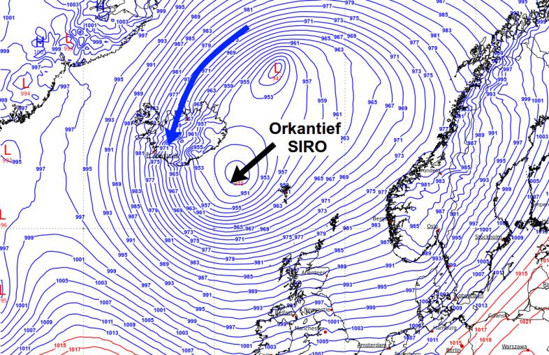 Orkantief SIRO über dem Nordatlantik.
