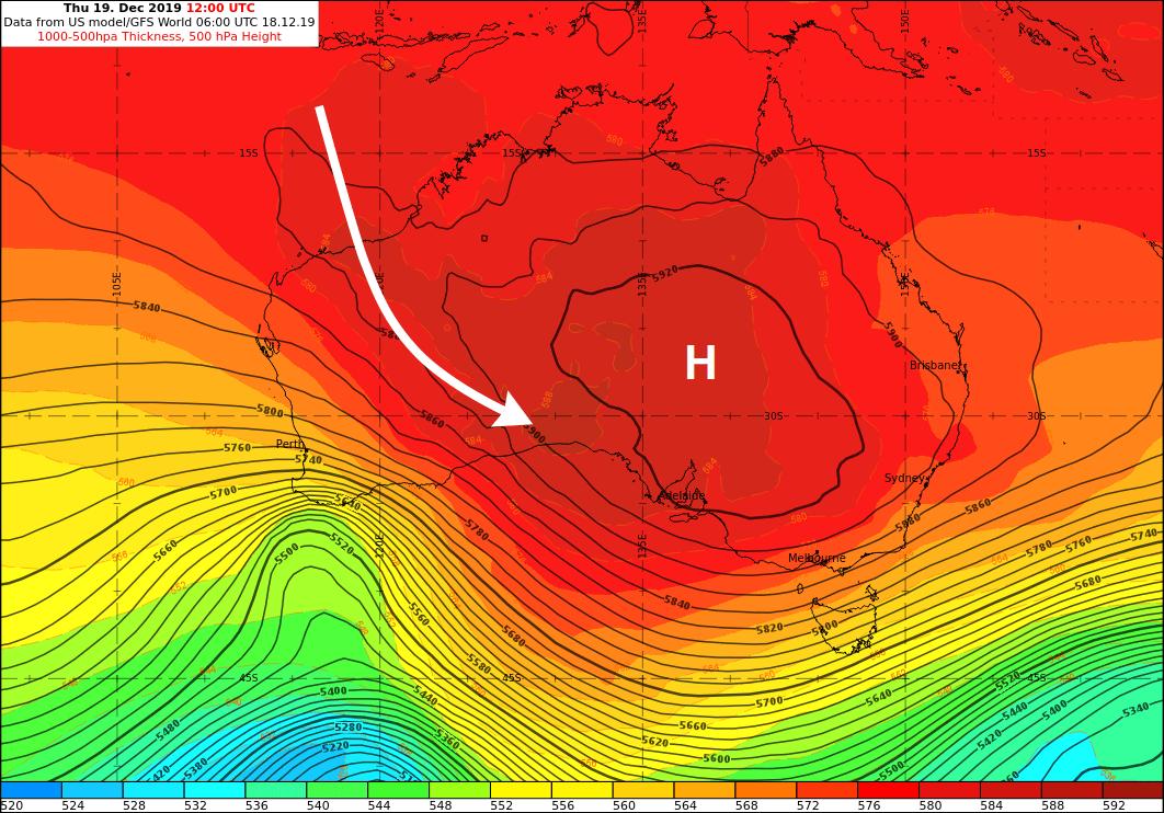 Geopotentialverteilung und relative Tropgrafie in 500 hPa am 19.12.2019, 12 UTC. Daten: NCEP
